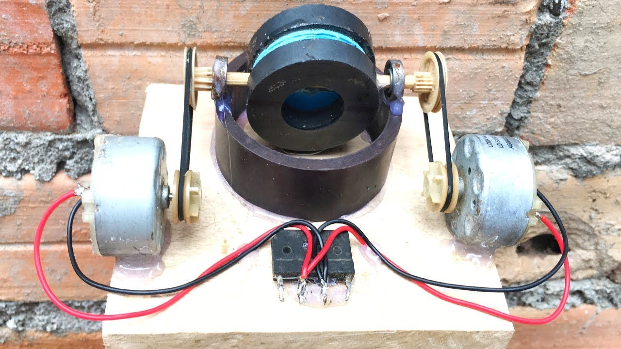 Mini Generator Self Running Machine Using DC Motors , Free Energy 2019