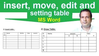 How to insert move and edit table in MS Word | Insert table and draw table