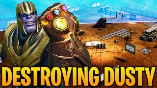 THANOS DESTROYS DUSTY DIVOT in Fortnite Battle Royale