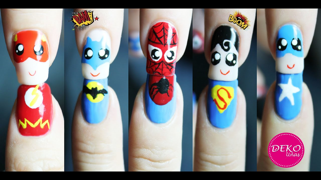 Decoracion de u as super heroes halloween nail art super for Decoracion de unas halloween