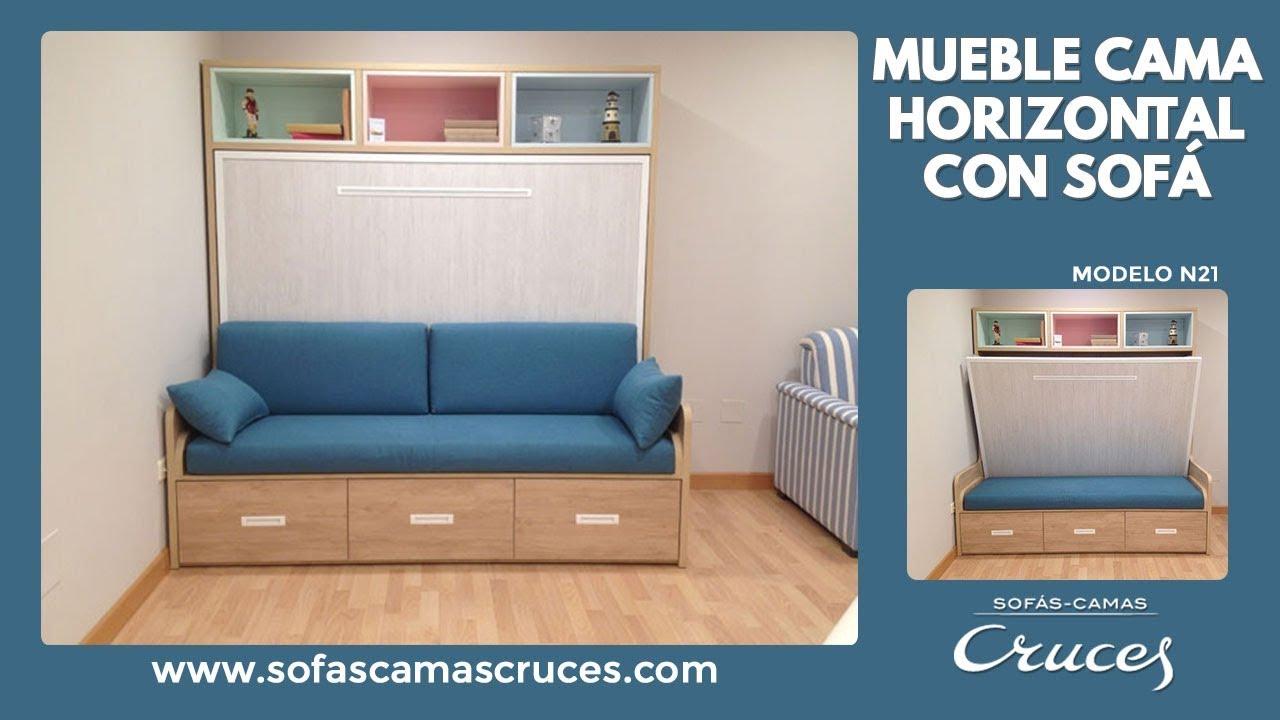 Mueble cama de matrimonio de apertura horizontal con sof - Mueble sofa cama ...