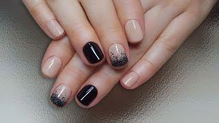 Дизайн ногтей гель-лак shellac - Градиент блестками (видео уроки дизайна ногтей)