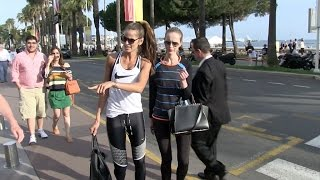 Izabel Goulart walks on La croistette with friend