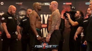 DILLIAN WHYTE & LUCAS BROWNE SHOW RESPECT & SHAKE HANDS  AT WEIGH IN FACE OFF!