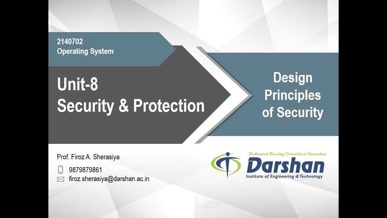 8 01 Design Principles Of Security Youtube