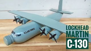 How to make Lockhead C-130 Airplane from Plastic Bottle | Membuat Pesawat C-130 dari Botol Bekas
