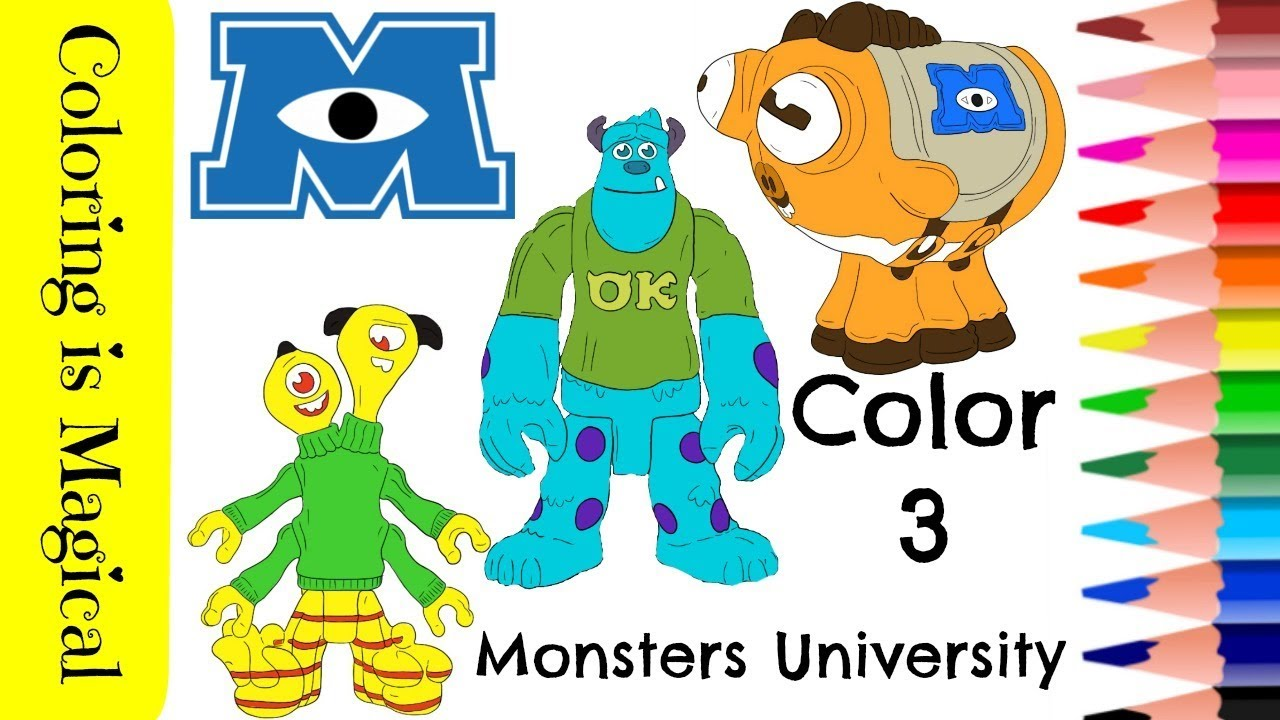 Color 3 Monsters Inc Characters coloring Page Disney Pixar Archie, Sully &  Terri y Terry Perry