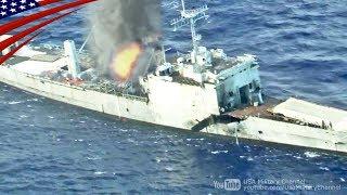 日米豪の対艦ミサイルと魚雷で沈没する船 - リムパック2018 沈没(シンキング)演習