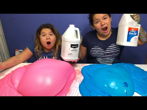 1 GALLON OF ELMER'S FLUFFY GLUE ALL VS 1 GALLON OF AMAZON BASICS FLUFFY SCHOOL GLUE -  GIANT SLIMES