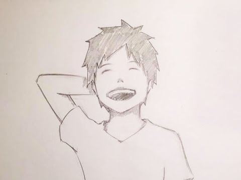Drawing an anime boy laughing timelapse