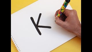 """How to turn Letter """"K"""" into a Cartoon HELLO KITTY ! Fun with Alphabets Drawing for kids"""