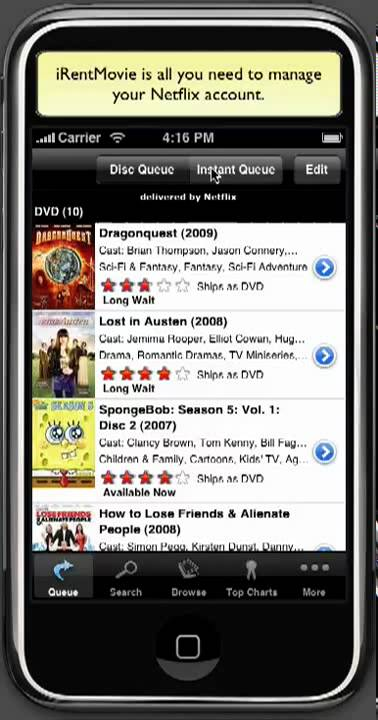 Instant Queue Manager : Irentmovie netflix manager for iphone overview youtube