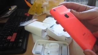 Розпакування айфон 5 білий і рожевий.