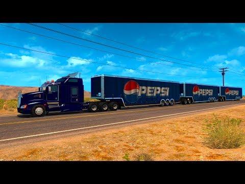 Tren triple remolque de Pepsi | Kenworth T660 Mapa de México | Maniobras difíciles