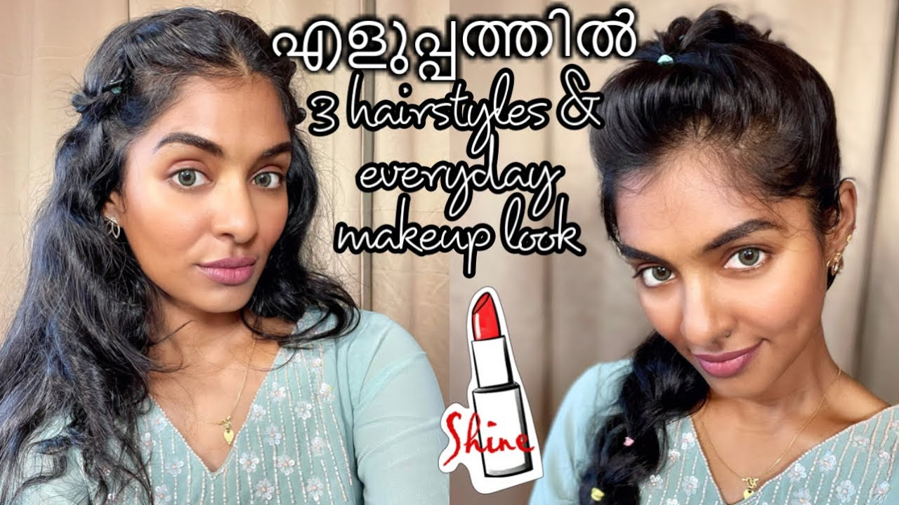 Easy 3 No heat hairstyles|Easy glowy every day makeup look|Asvi Malayalam