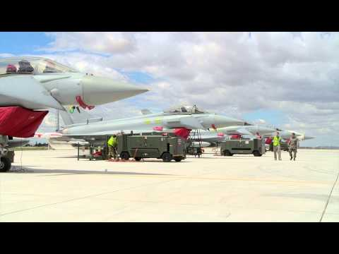 Exercise Anatolian Eagle RAF Engineer and Turkish Air Force Engineer Flight Line Walk and Talk
