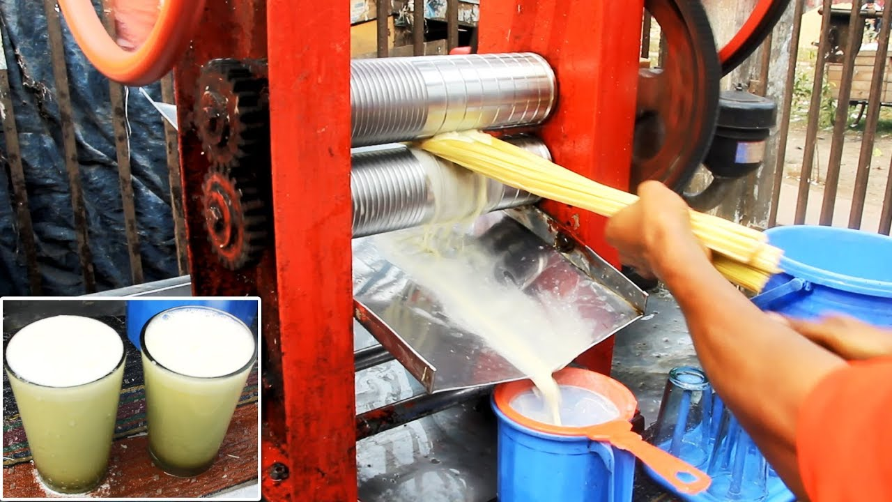 Sugarcane Juice Vendor With Itinerant Traditional Machine Sugarcane Juice Extractor Youtube