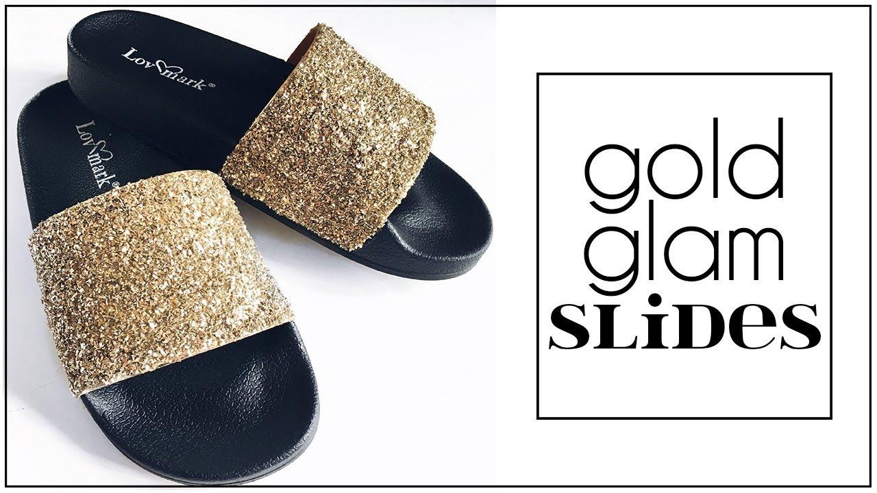 DIY Gold Glitter Glam Slides | Jenni