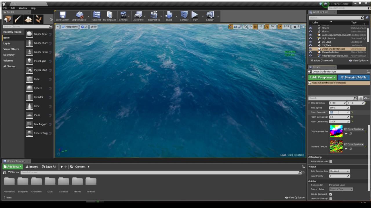 Unreal Engine 4 FFT Water Test #3: Dynamic Crest Foam #1