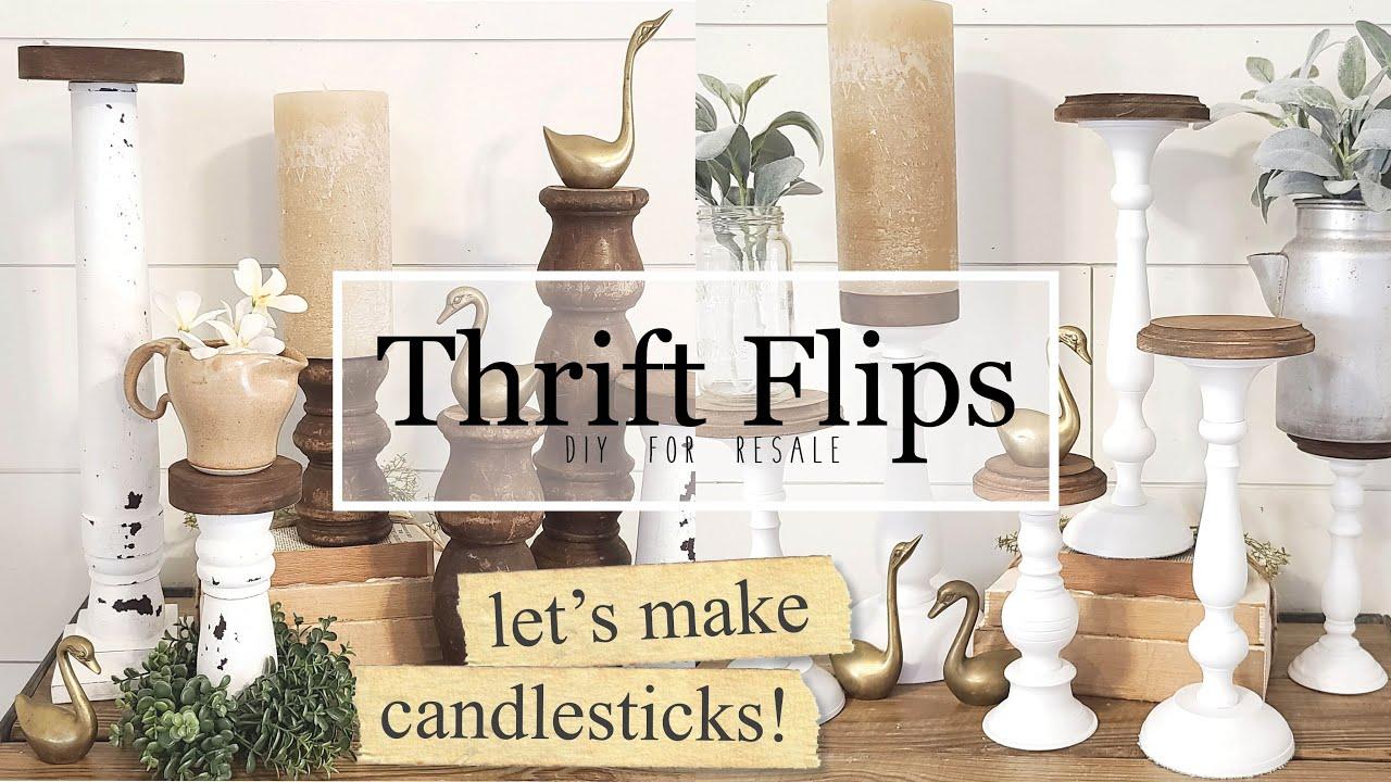 Thrift Flips • LET'S MAKE CANDLESTICKS • Trash to Treasure • Using Milk Paint • Spindles
