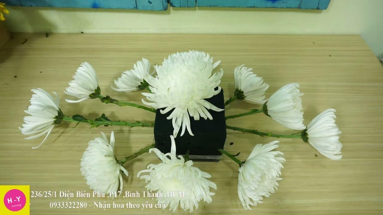 Cách cắm hoa để bàn đẹp Hoa Cúc trắng mix Hồng Đỏ|Cắm hoa mở shop 38