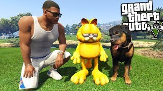 GARFIELD meets Franklin's DOG (GTA 5 Mods)