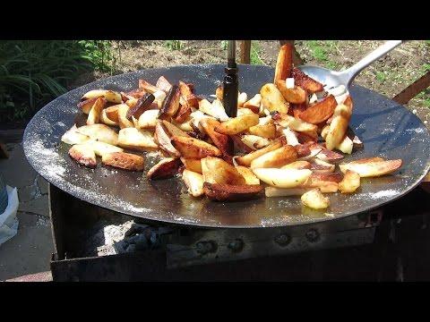 жареная картошка с мясом на сковороде пошагово