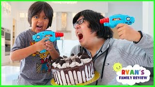 Ryan Laser Tag Blasters Challenge vs Daddy for Cake!!!!!