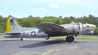 Boeing B-17 Flying fortress bomber takeoff, landing & taxi