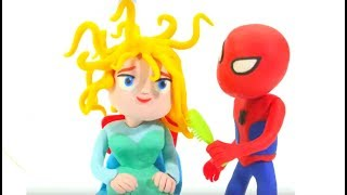 Spiderman Bürsten Frozen Elsa Hair - Play-Doh Cartoons & Superhelden-Babys Stop-Motion-Filme