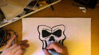 How to draw a easy graffiti skull