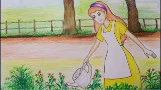 how to draw garden scenery step by step | drawing of garden scene for kids