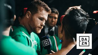 Canelo Reacts To Jacobs Shove At Weigh-In