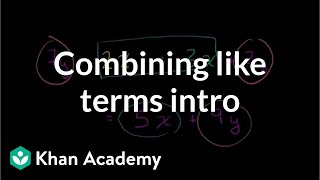 Combining like terms introduction | Introduction to algebra | Algebra I | Khan Academy thumbnail