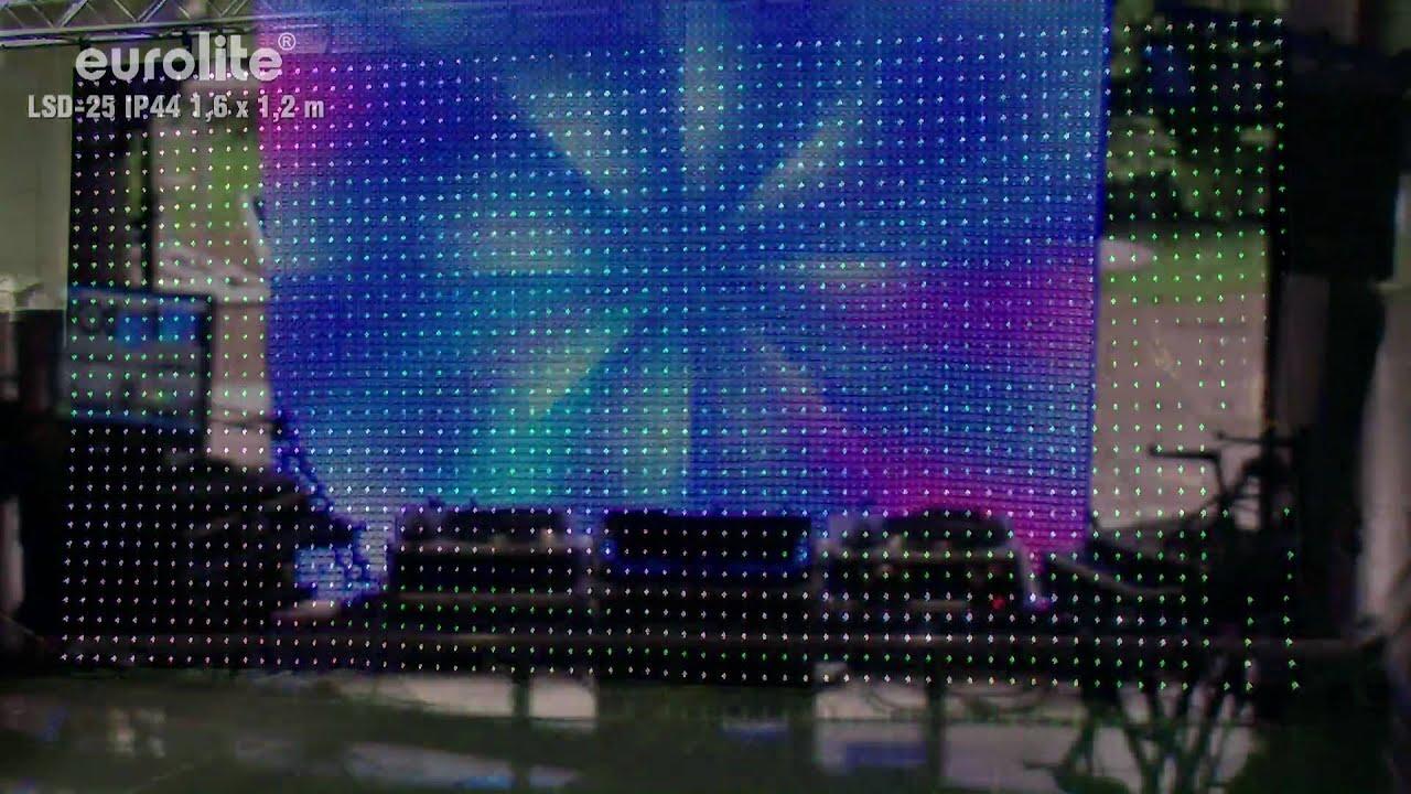 Nice EUROLITE LSD 25 IP44 1,6m X 1,2m Flexible LED Display / LED Curtain    YouTube