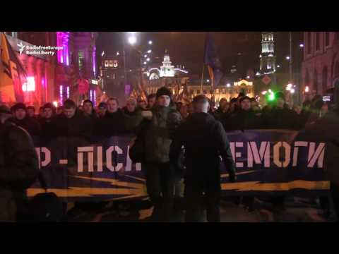Ukrainian Nationalist Group Holds Torchlight Rally In Kharkiv