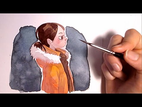 Watercolor Illustration girl portrait timelapse painting Art by Iraville