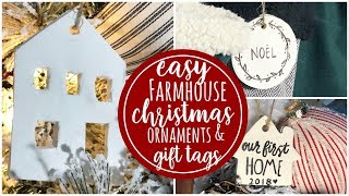 DIY Farmhouse Ornaments & Gift Tags | 12ish days of Christmas ( day 6 )
