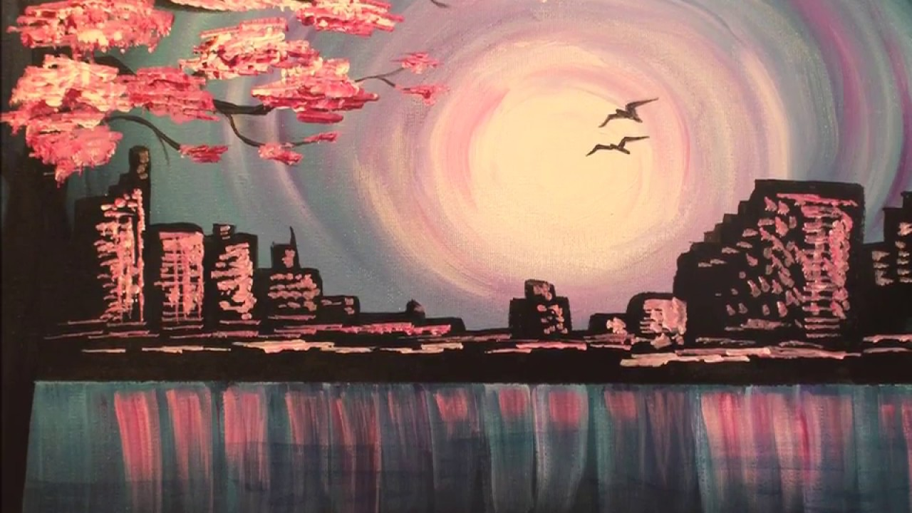 Evening skyline fast easy acrylic painting tutorial for for Step by step painting tutorial