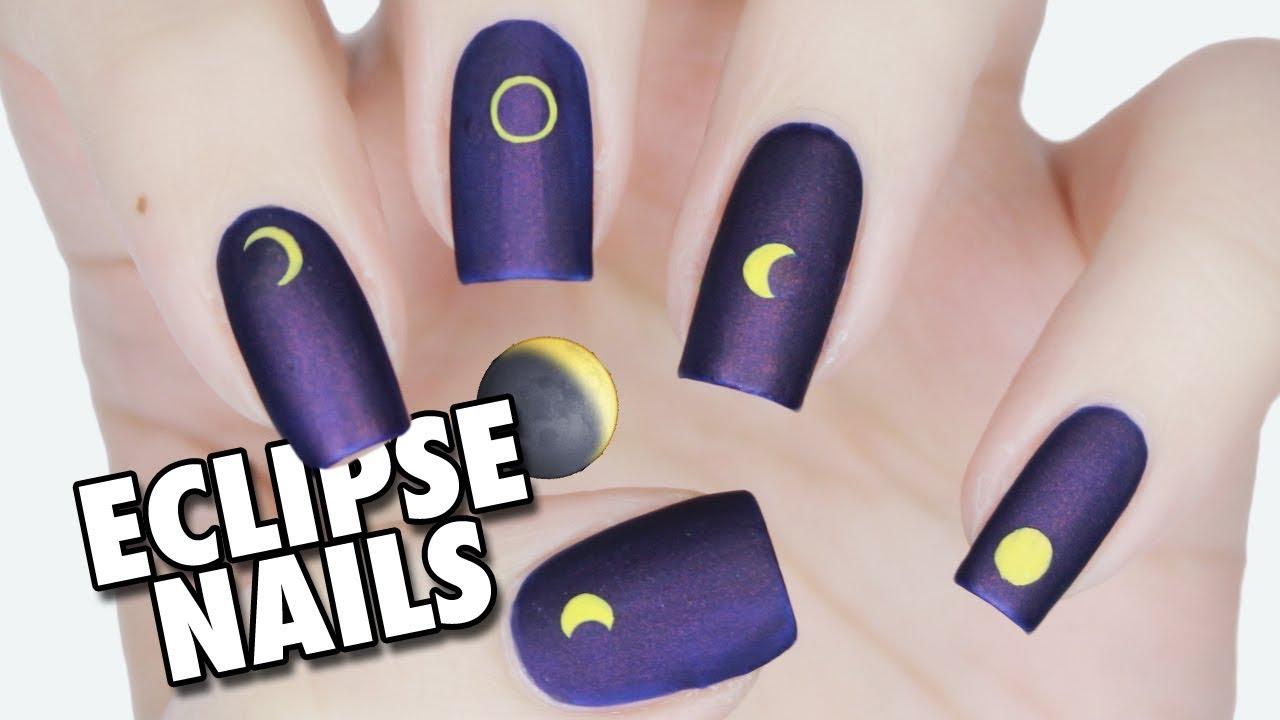 Easy & Minimal Total Solar Eclipse Nail Art - YouTube