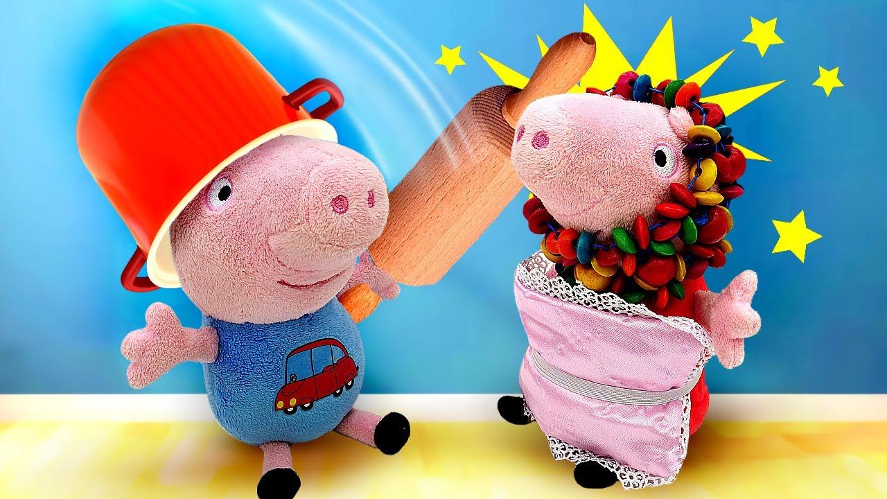 Peppa Pig e George caçam o monstro que vive embaixo da cama! Histórias para crianças com brinquedos
