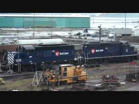 Southern Railway Rail link train loading up barge Filmed in Nanaimo  British Columbia Canada