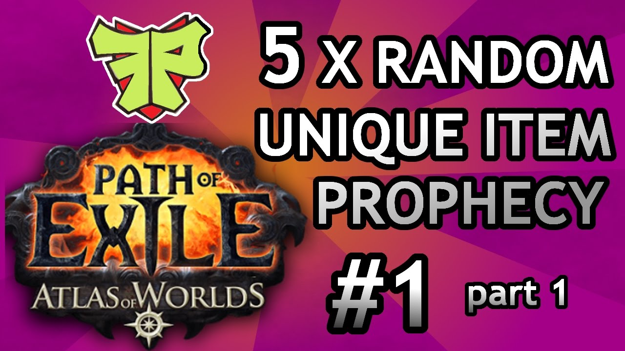 5x random unique item! Mysterious gift prophecy #1 PoE Atlas of ...