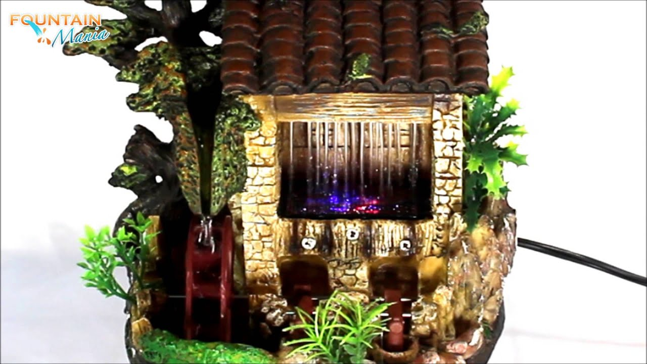 House With Water Wheel And Tapper Color LED Lights Indoor Water Fountain    @FountainMania.com   YouTube