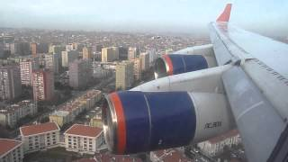 Aeroflot Ilyushin IL-96 Landing at Istanbul, Turkey - Window View