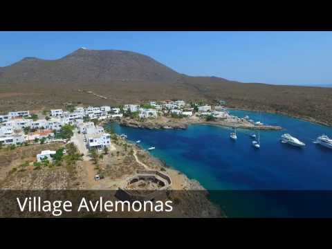 Kythira, travel guide: Village Avlemonas with Venetian fortress / observatory (by drone camera)