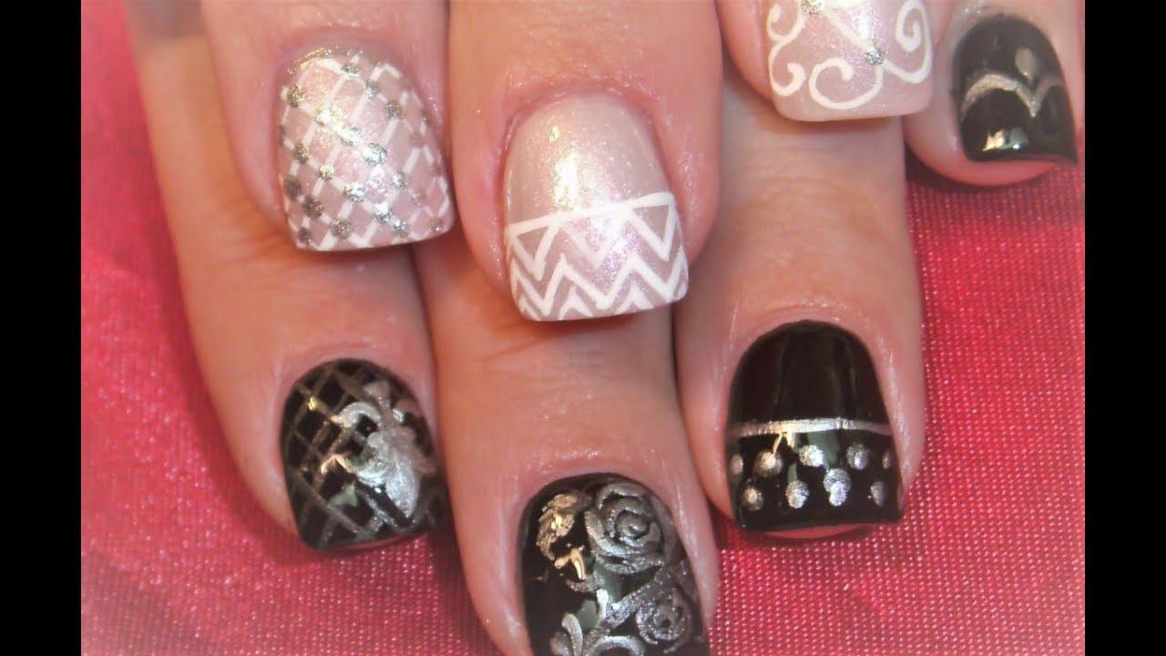 2 nail art tutorials easy nail art for short nails black and 2 nail art tutorials easy nail art for short nails black and white design prinsesfo Choice Image