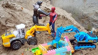 Spiderman Excavator Dump Truck Construction Vehicle Toys find Treasures in the Sand | Kids And Toys