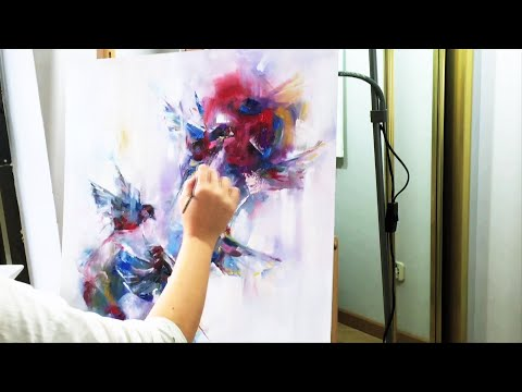 ABSTRACT FLYING BIRDS  - Oil Speed Painting