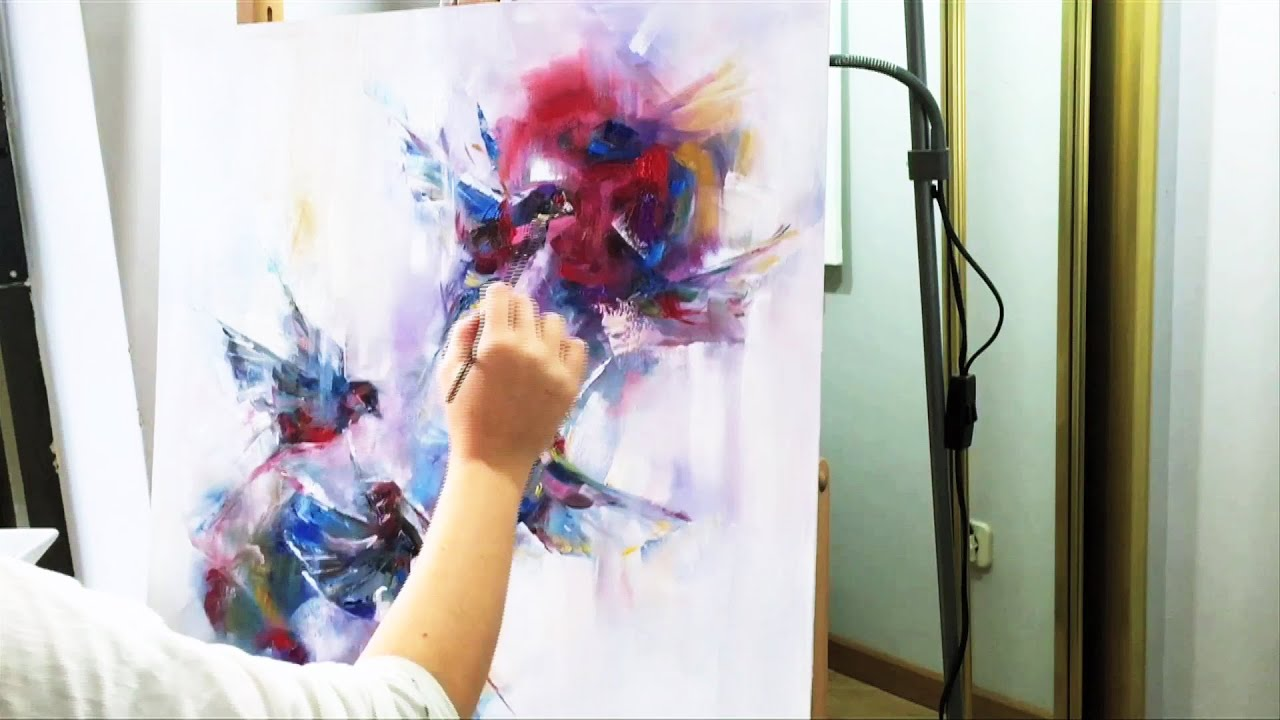 ABSTRACT FLYING BIRDS - Oil Speed Painting - YouTube